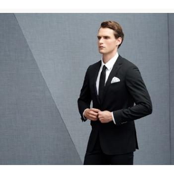 男士经典黑色高级商务休闲西装上衣西裤新郎伴郎合体礼服套装