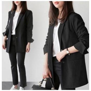 春秋西装外套女韩版修身百搭两粒扣女士西服中长款职业装外套