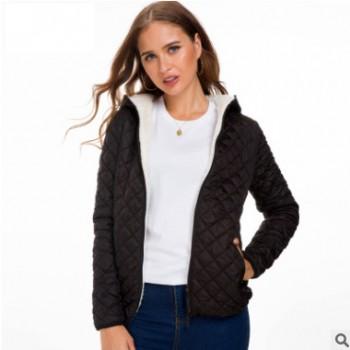 一件代发保暖秋冬款女装连帽加绒绗棉服纯色外套羊羔绒短款棉衣女