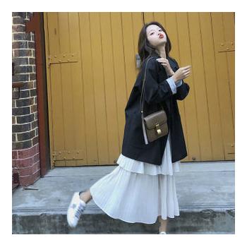 西装外套女春秋新款韩版女学生中长款休闲百搭宽松小西服外套ins
