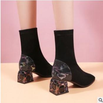 大码水钻磨砂方头短靴显瘦短靴粗跟弹力靴女短靴中跟靴子女4869