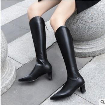 28-48码欧美女靴2020秋冬秋款加厚长靴尖头粗跟皮靴高筒靴yT3835
