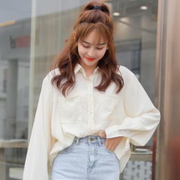 KC[与恩君]A148春季新款韩版通勤单排扣衬衫宽松百搭纯色衬衣女