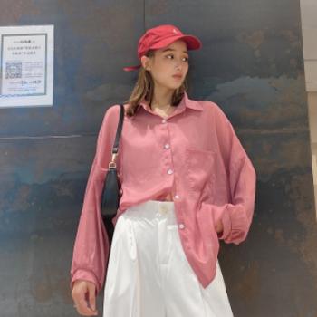 KC[与恩君]A399夏季韩版糖果色防晒衣珠光天丝衬衫 宽松显瘦衬衣