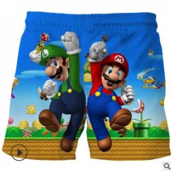 夏季新款童装儿童中大童3D印花马里奥短裤 男孩休闲卡通沙滩裤