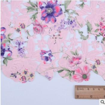牛奶丝玫瑰花型连衣裙花边 水溶花边 涤纶丝绣花花边工艺印花定制
