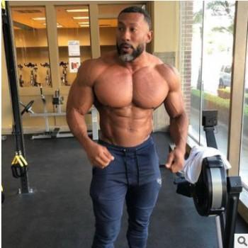 2020肌肉健身运动修身男士长裤跑步全棉运动裤直筒弹力休闲裤男款