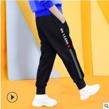 一件代发2020春秋新款男童中小童韩版休闲洋气男孩针织运动长裤潮