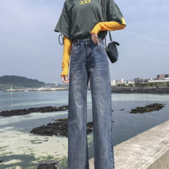 现货牛仔裤女2019秋季新款时尚阔腿裤泫雅风宽松垂感拖地牛仔长裤