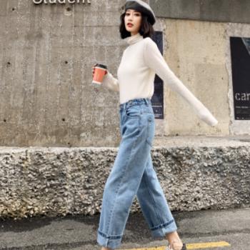 源头厂货网红高腰牛仔裤女 创意款韩版显瘦宽松型直筒女装牛仔裤