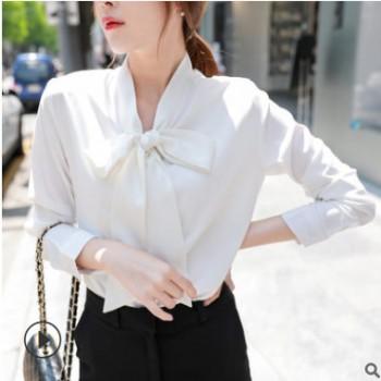 春秋韩版职业通勤女式衬衫长袖V领蝴蝶结系带雪纺白衬衫批发厂家