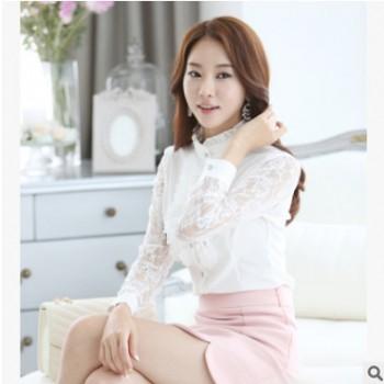 女式衬衫2020春装新款韩版长袖女蕾丝雪纺衫女淑女OL衬衫大码女装