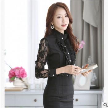 2020韩国春装新款女式衬衫长袖职业OL通勤淑女蕾丝雪纺衬衣女修身