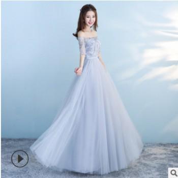 伴娘礼服2020新款韩式网纱姐妹团伴娘服大码显瘦长款年会晚礼服春