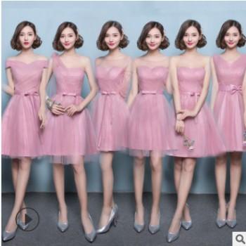 伴娘服短款2020夏季新款时尚伴娘团礼服学生毕业礼服演出服
