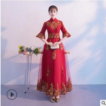 中式婚纱圆领敬酒服夏季2020新款旗袍式样长款回门敬酒礼服