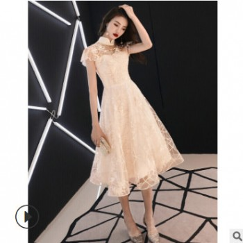 新款春季香槟色中长款显瘦中式伴娘服名媛连衣香槟色礼服