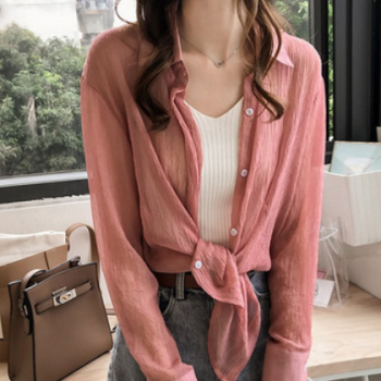 2019夏装新款韩版百搭大码纯色衬衫女长袖上衣宽松薄款防晒衬衣潮