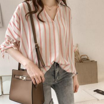 夏装2019新款韩范系带短袖条纹衬衫女宽松休闲雪纺衬衣打底上衣