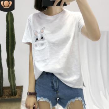 2020夏季新款大码女装 兔子刺绣打底女式上衣 竹节棉短袖T恤女ins