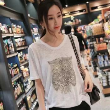 大码宽松短袖T恤女 2020夏季新款甜美女装 休闲竹节棉韩版女上衣