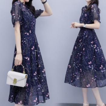 实拍雪纺连衣裙女2020夏季新款大码韩版气质中长款过膝碎花长裙子