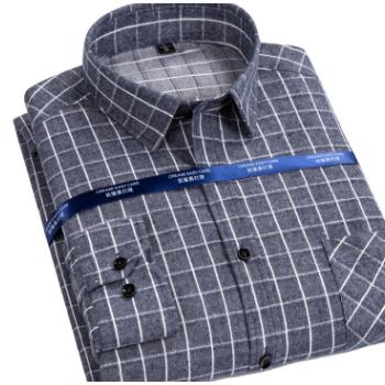 2019春季新款全棉磨毛格子长袖衬衫100%纯棉洗水格子衬衣休闲上衣
