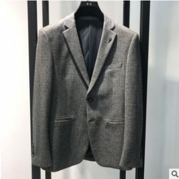 浪淘男装2020秋季新纯色嵌线装饰休闲西装男灰色简约男士西服外套