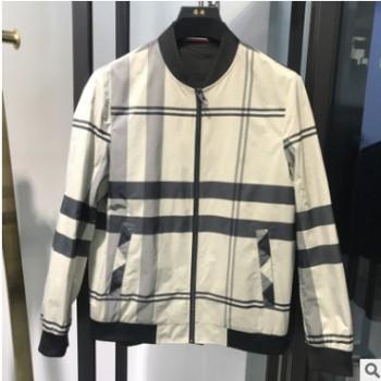 浪淘品牌男装2020新款青年棒球领休闲秋季外套时尚撞色格子夹克男