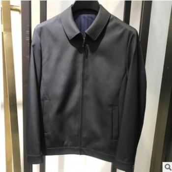浪淘商务男装外套2020春秋新款职业装长袖夹克男纯色翻领男士夹克