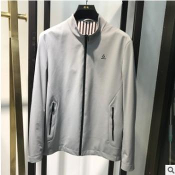 浪淘品牌秋季男装2020新款户外纯色外套男灰色青年立领男士夹克