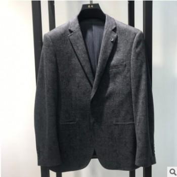 浪淘男装厂家直销2020秋冬新灰色简约修身小西装男式休闲西服外套