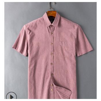 春夏男士纯棉色纺短袖衬衫 液氨免烫休闲水洗衬衣中青年抗皱男装