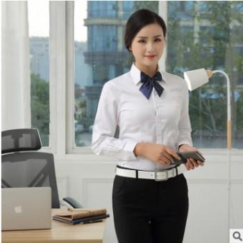2019新款女士纯色长袖衬衫修身商务职业装厂家直销【厂货通】
