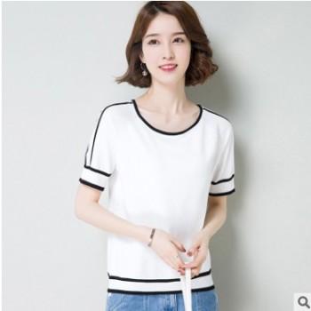一件代发女装夏季t恤2020套头新款韩版时尚圆领宽松大码白色t恤