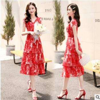 2020新款夏装连衣裙V领短袖裙z抖音网红同款减龄收腰中长款连衣裙