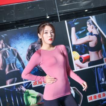 2019新款女士运动紧身衣 弹力长袖T恤速干显瘦跑步篮球瑜伽健身服