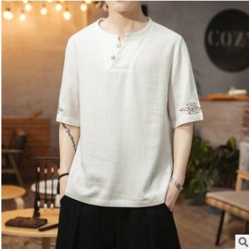 2020夏季新款中国风棉麻盘扣男士休闲短袖T恤亚麻大码刺绣汗服
