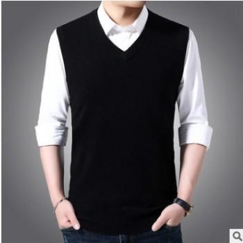 秋冬季新款加厚纯色100%纯羊毛针织衫毛背心休闲男装V领无袖马甲