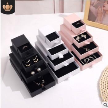 饰品盒现货直销抽屉式戒指盒首饰盒批发手镯项链包装盒耳钉可定制