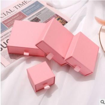 粉色抽屉首饰盒装项链戒指耳钉便携礼物包装盒精致饰品盒定制logo