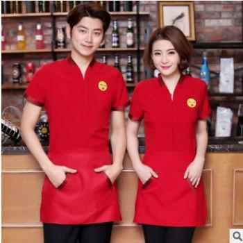 餐厅服务员工作服短袖餐饮夏装女饭店火锅店酒店员工中式服装透气