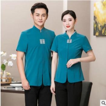 中式服务员工作服短袖女夏装茶楼西餐厅餐饮连锁火锅店酒店工作服