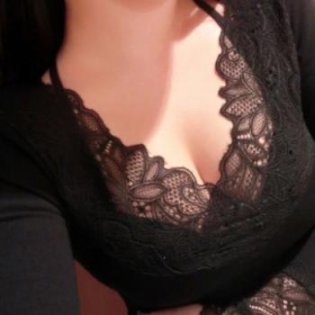 8871加大码蕾丝V领上衣性感保暖内衣女加绒加厚修身打底衫秋冬女
