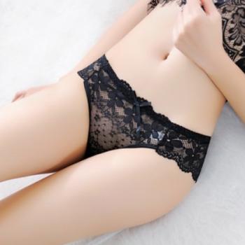 外贸加大码中腰性感内裤女 奢华蕾丝诱惑提臀美臀透视三角裤 1520