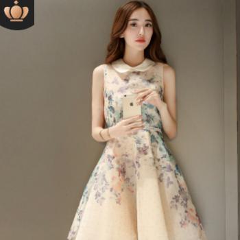 木瓜牛奶 2020夏季女士新款韩版气质娃娃领无袖印花收腰连衣裙