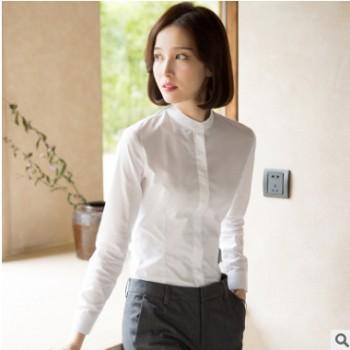 优柏秋冬韩范立领白衬衫女长袖修身百搭职业白色衬衣打底正装