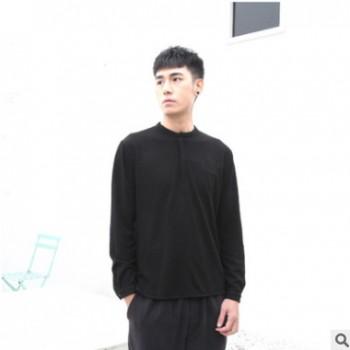 广州宸贤2020春新款男保暖暗纹卫衣胸口拉链开领休闲户外黑色长袖