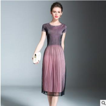 纱裙女连衣裙中长款夏季三宅褶皱圆领短袖修身显瘦中长款百褶裙子