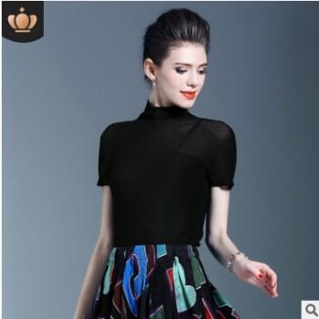 三宅褶皱上衣女2020春夏高端超弹力紧身T恤女修身打底衫薄款一生